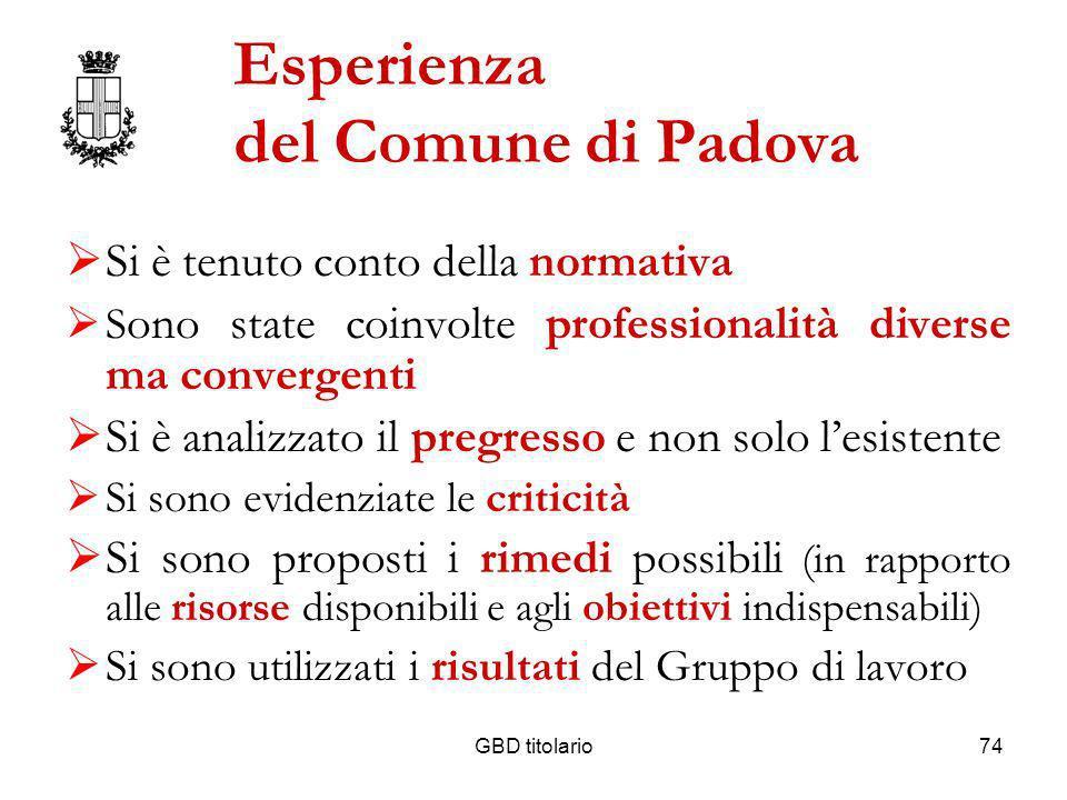 Esperienza del Comune di Padova
