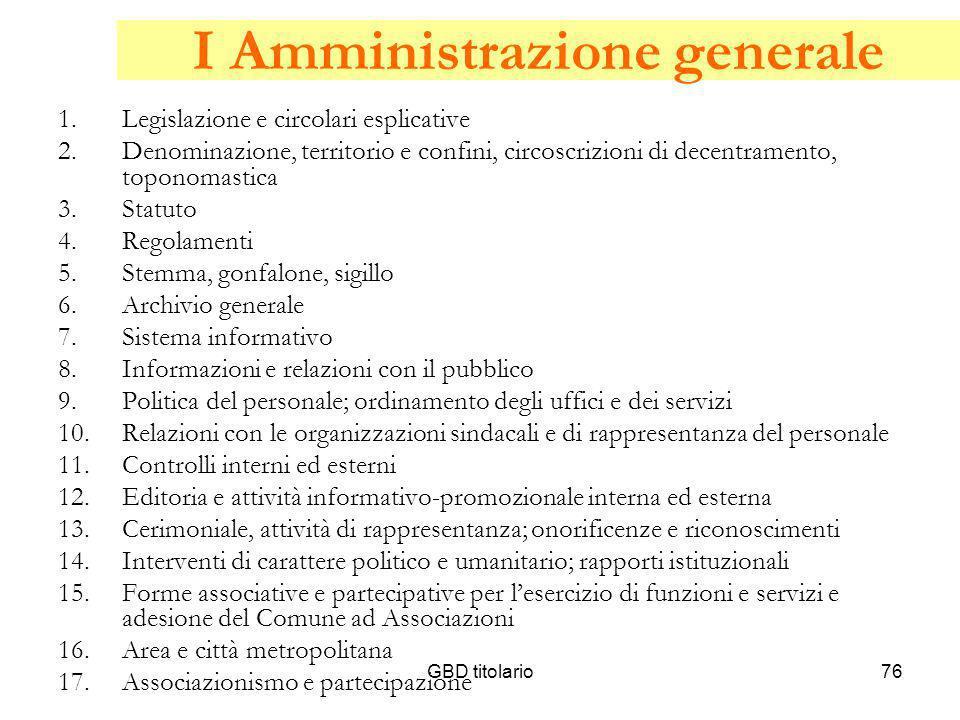 I Amministrazione generale
