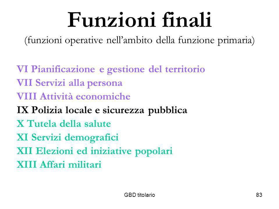 Funzioni finali (funzioni operative nell'ambito della funzione primaria)