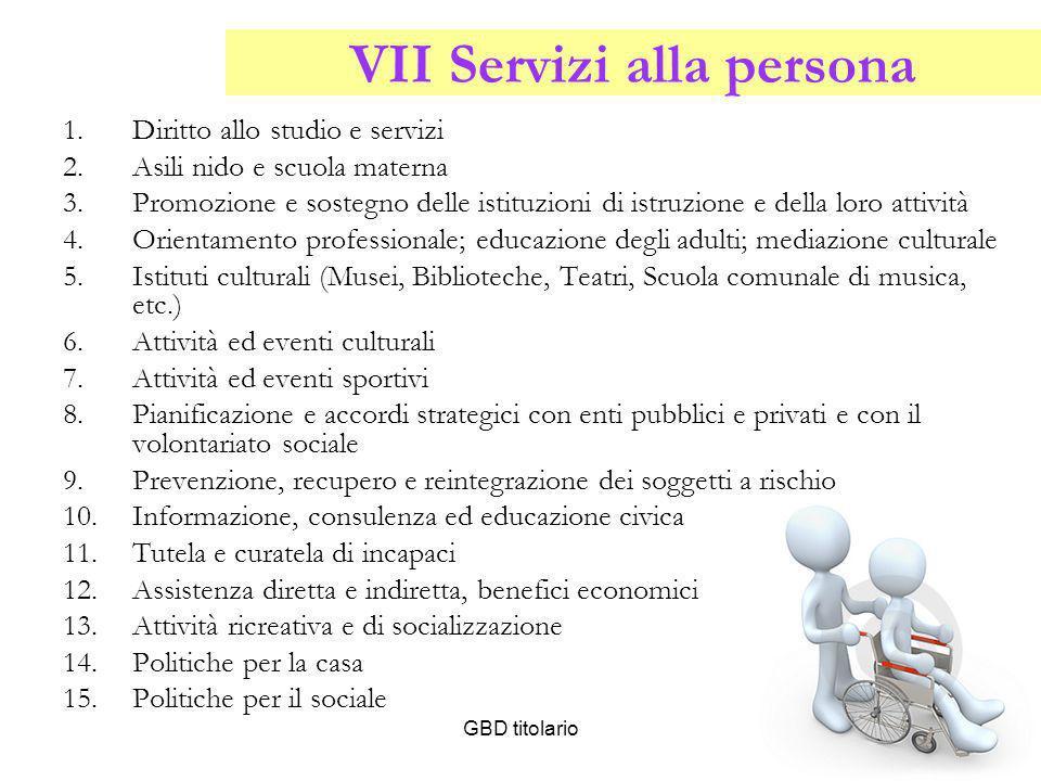 VII Servizi alla persona