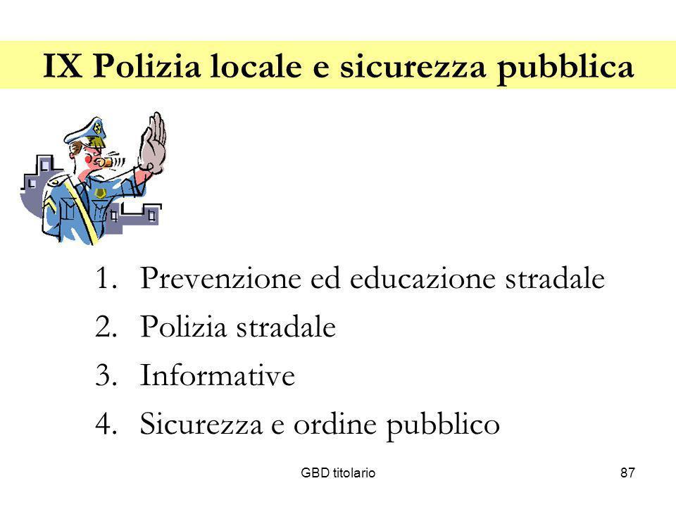 IX Polizia locale e sicurezza pubblica