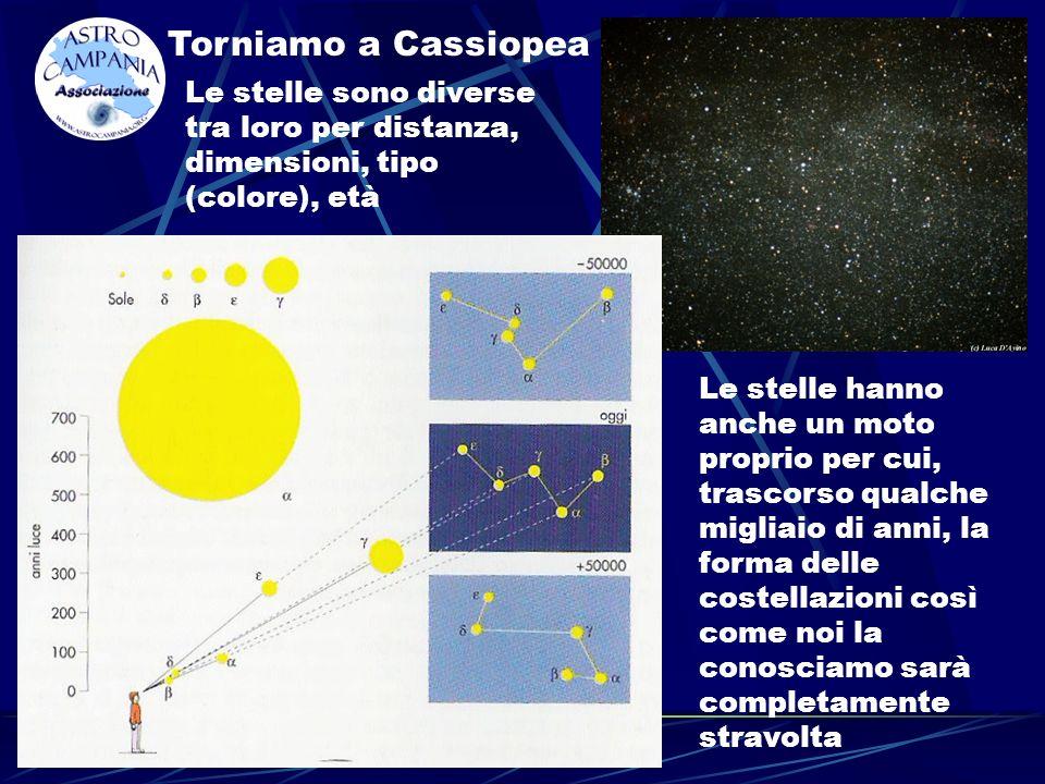 Torniamo a Cassiopea Le stelle sono diverse tra loro per distanza, dimensioni, tipo (colore), età.