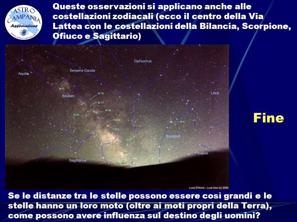 Queste osservazioni si applicano anche alle costellazioni zodiacali (ecco il centro della Via Lattea con le costellazioni della Bilancia, Scorpione, Ofiuco e Sagittario)