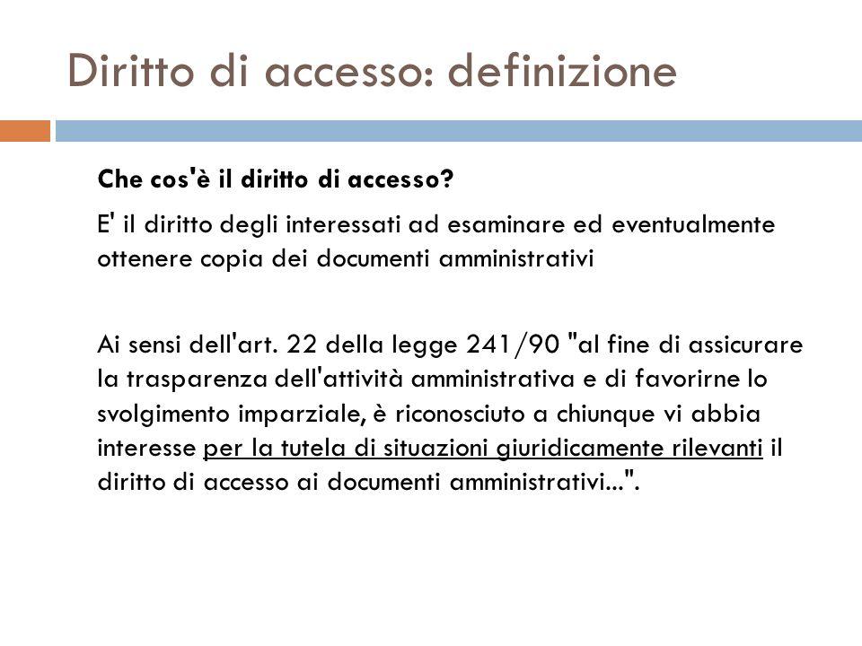 Diritto di accesso: definizione