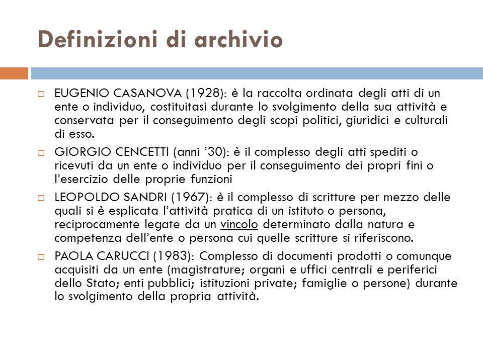 Definizioni di archivio