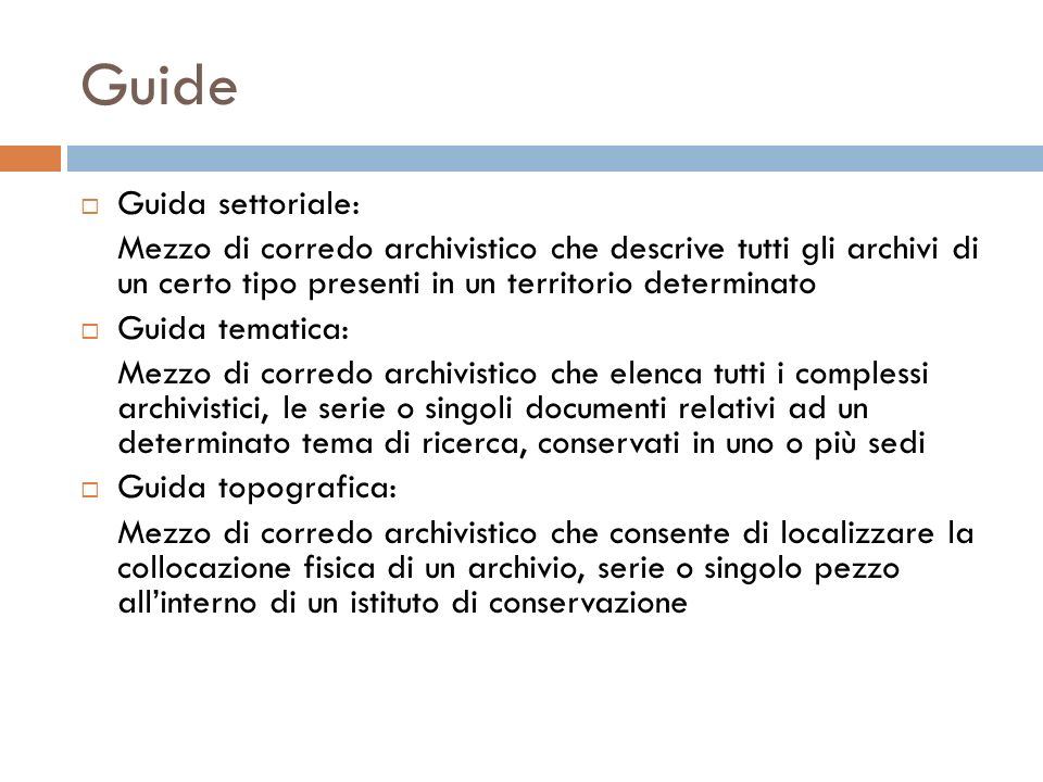 Guide Guida settoriale: