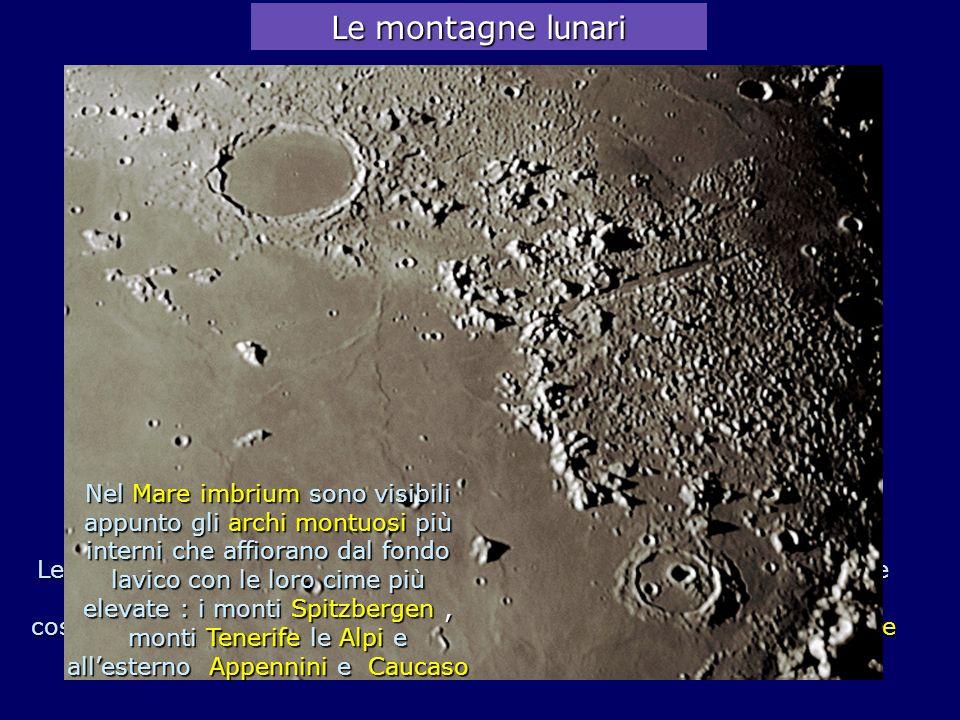 Le montagne lunari Aristoteles 87km. Exodus 67km. Alpi 2400m. Mare Serenitatis. M.ti Caucaso 6000m.