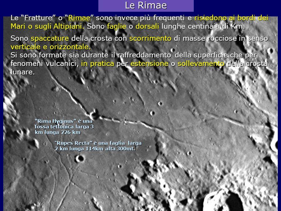 Le Rimae Le Fratture o Rimae sono invece più frequenti e risiedono ai bordi dei.