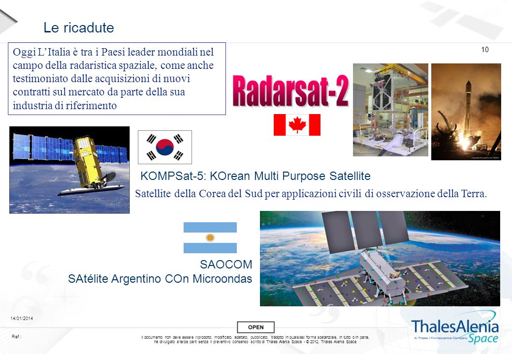 Radarsat-2 Le ricadute KOMPSat-5: KOrean Multi Purpose Satellite