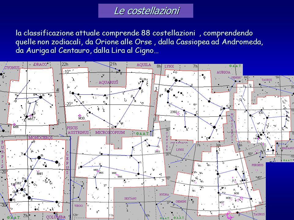 Le costellazioni la classificazione attuale comprende 88 costellazioni , comprendendo.
