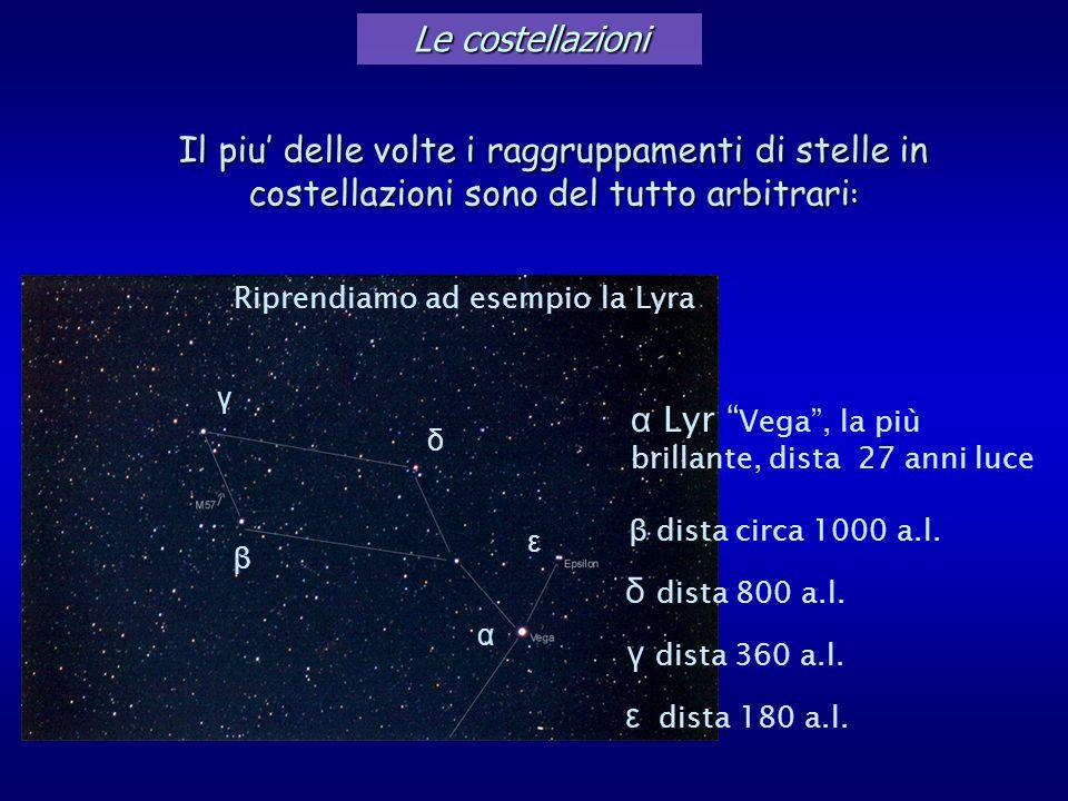 α Lyr Vega , la più brillante, dista 27 anni luce