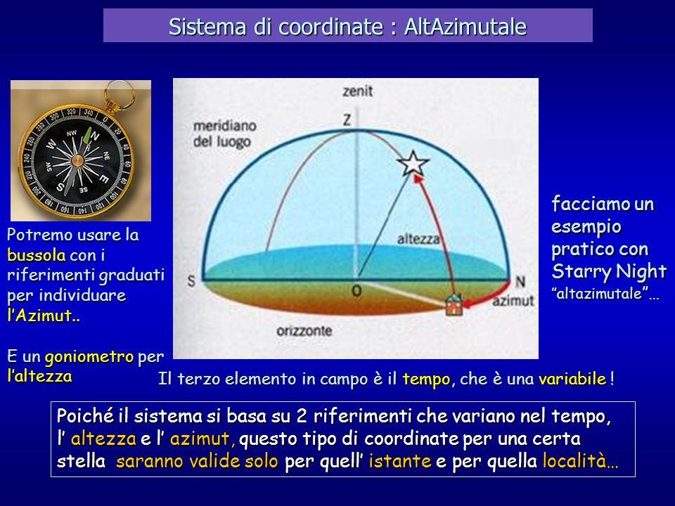 Sistema di coordinate : AltAzimutale