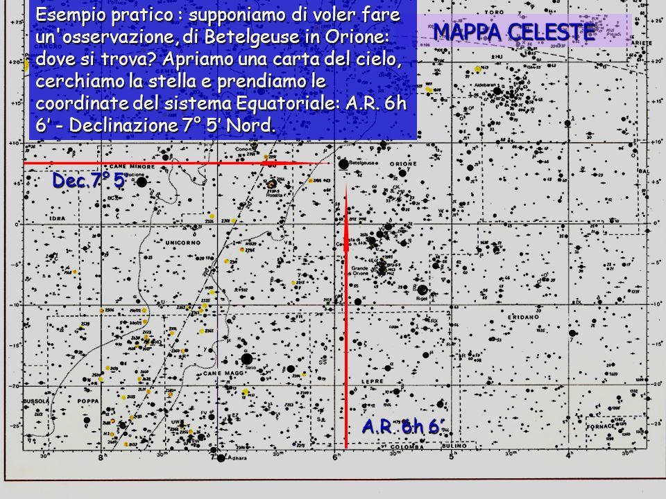 Esempio pratico : supponiamo di voler fare un osservazione, di Betelgeuse in Orione: dove si trova Apriamo una carta del cielo, cerchiamo la stella e prendiamo le coordinate del sistema Equatoriale: A.R. 6h 6' - Declinazione 7° 5' Nord.