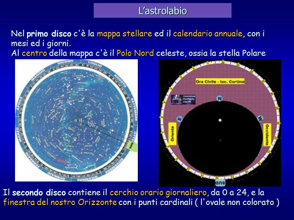 L'astrolabio Nel primo disco c è la mappa stellare ed il calendario annuale, con i mesi ed i giorni.