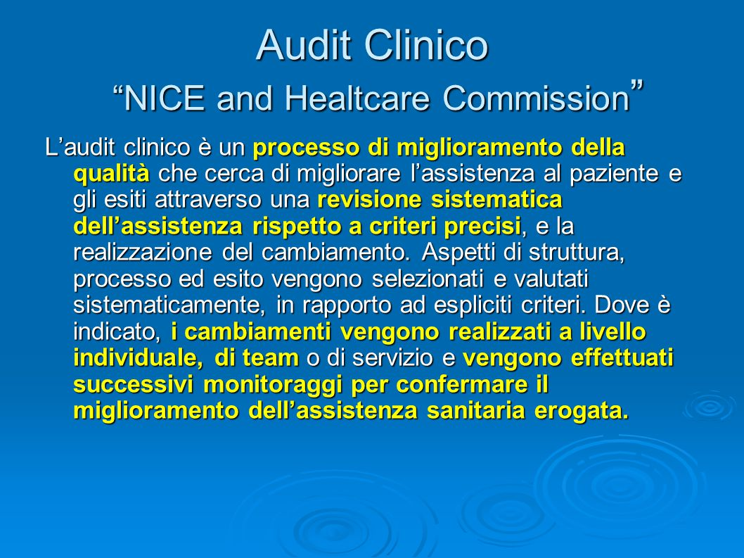 Audit Clinico NICE and Healtcare Commission