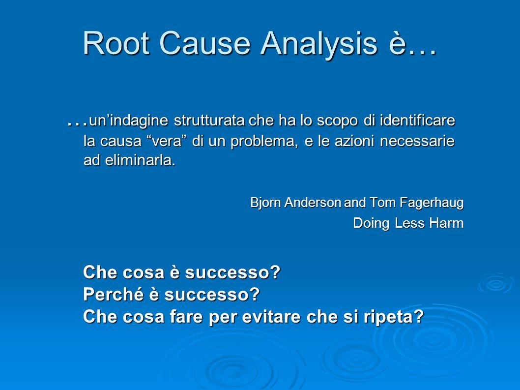 Root Cause Analysis è… …un'indagine strutturata che ha lo scopo di identificare la causa vera di un problema, e le azioni necessarie ad eliminarla.