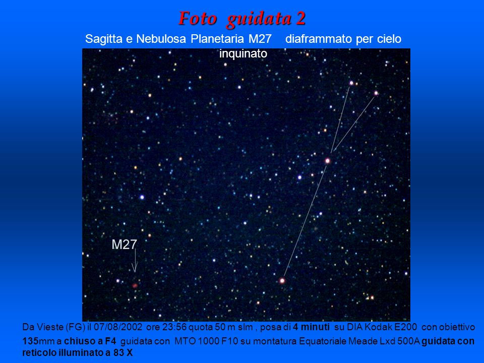 Sagitta e Nebulosa Planetaria M27 diaframmato per cielo inquinato