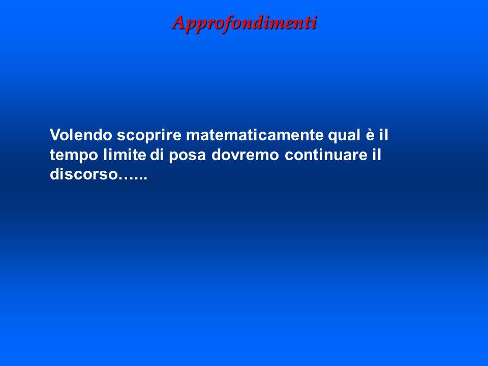 Approfondimenti Volendo scoprire matematicamente qual è il tempo limite di posa dovremo continuare il discorso…...