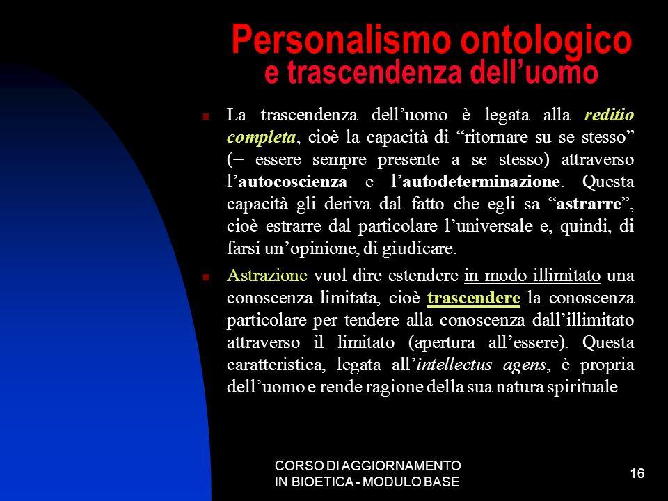 Personalismo ontologico e trascendenza dell'uomo