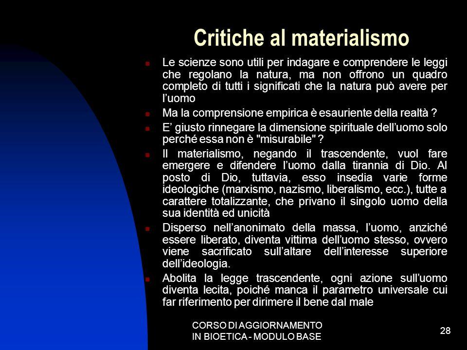 Critiche al materialismo