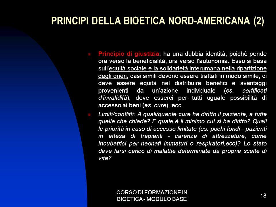 PRINCIPI DELLA BIOETICA NORD-AMERICANA (2)