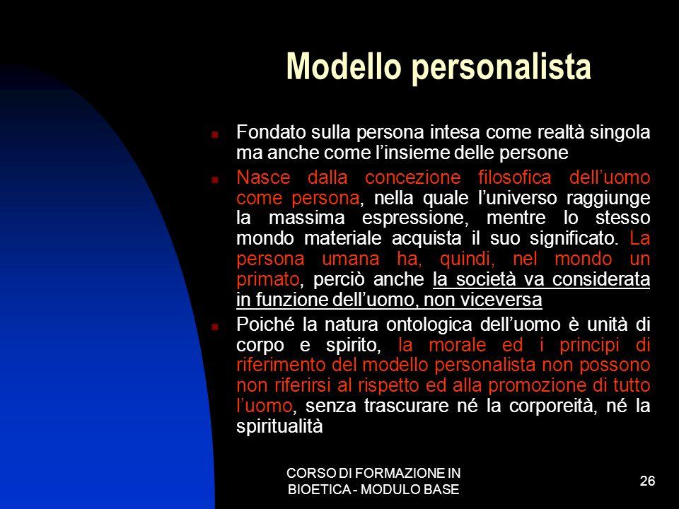 CORSO DI FORMAZIONE IN BIOETICA - MODULO BASE