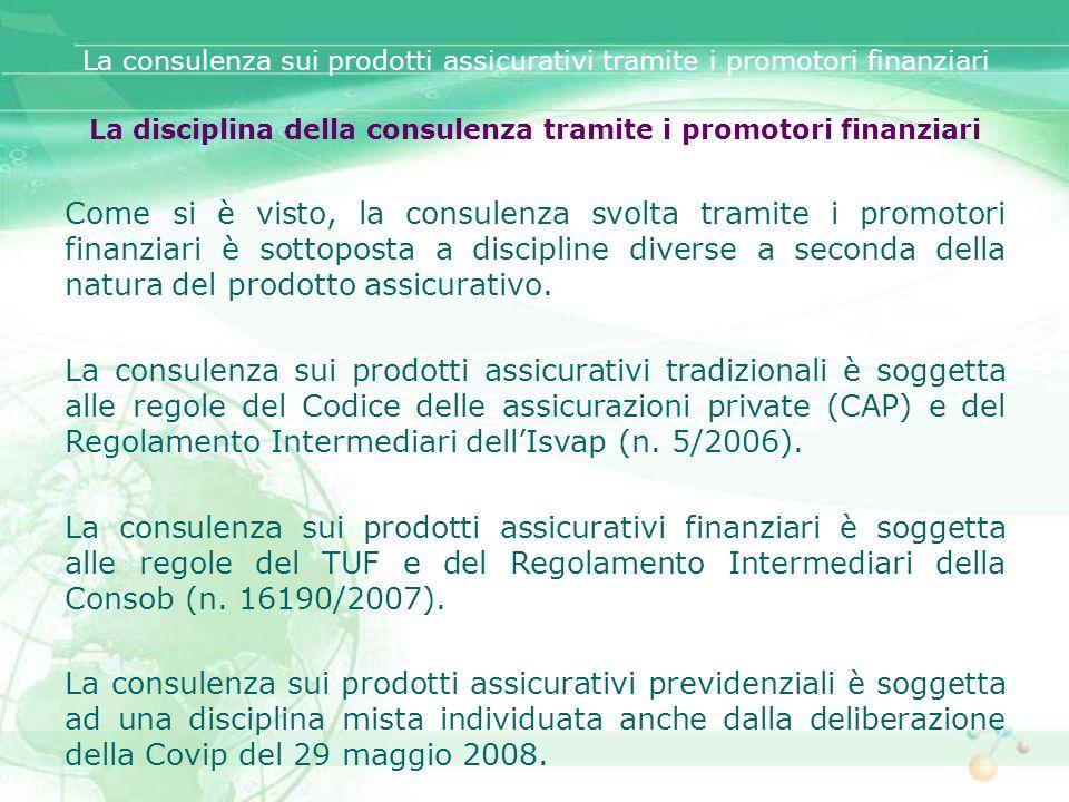 La disciplina della consulenza tramite i promotori finanziari