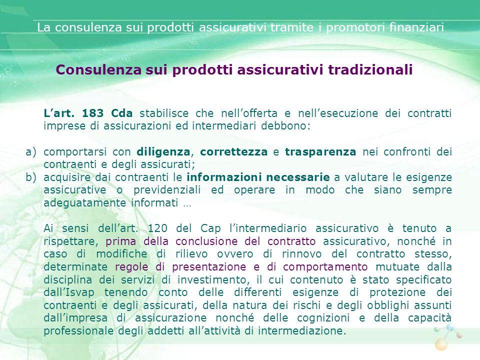 Consulenza sui prodotti assicurativi tradizionali
