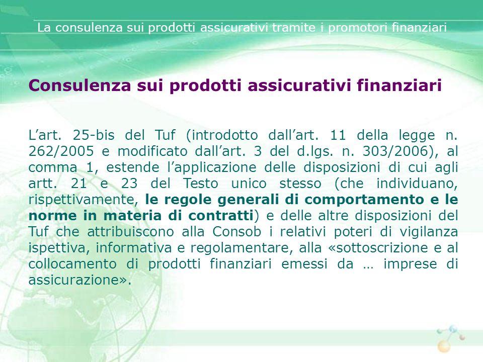 Consulenza sui prodotti assicurativi finanziari
