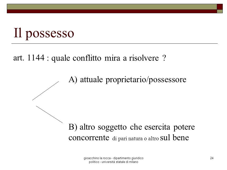 Il possesso art. 1144 : quale conflitto mira a risolvere