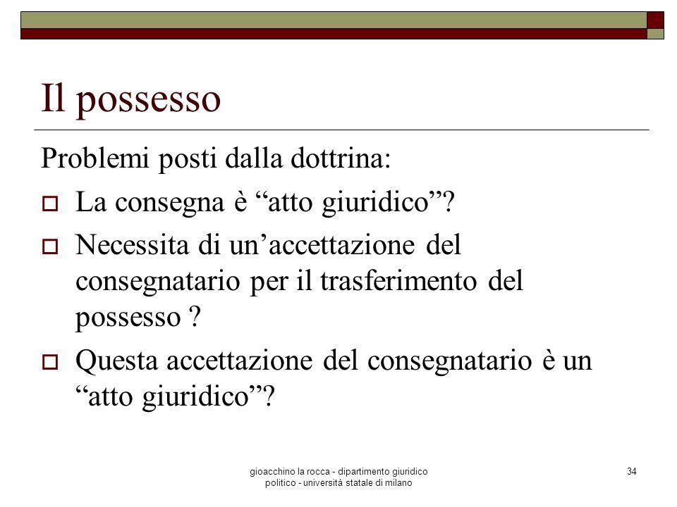 Il possesso Problemi posti dalla dottrina: