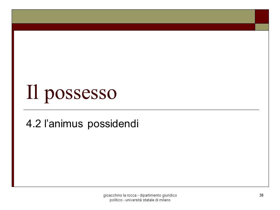 Il possesso 4.2 l'animus possidendi
