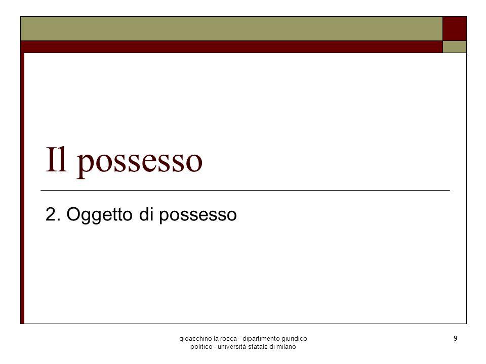 Il possesso 2. Oggetto di possesso