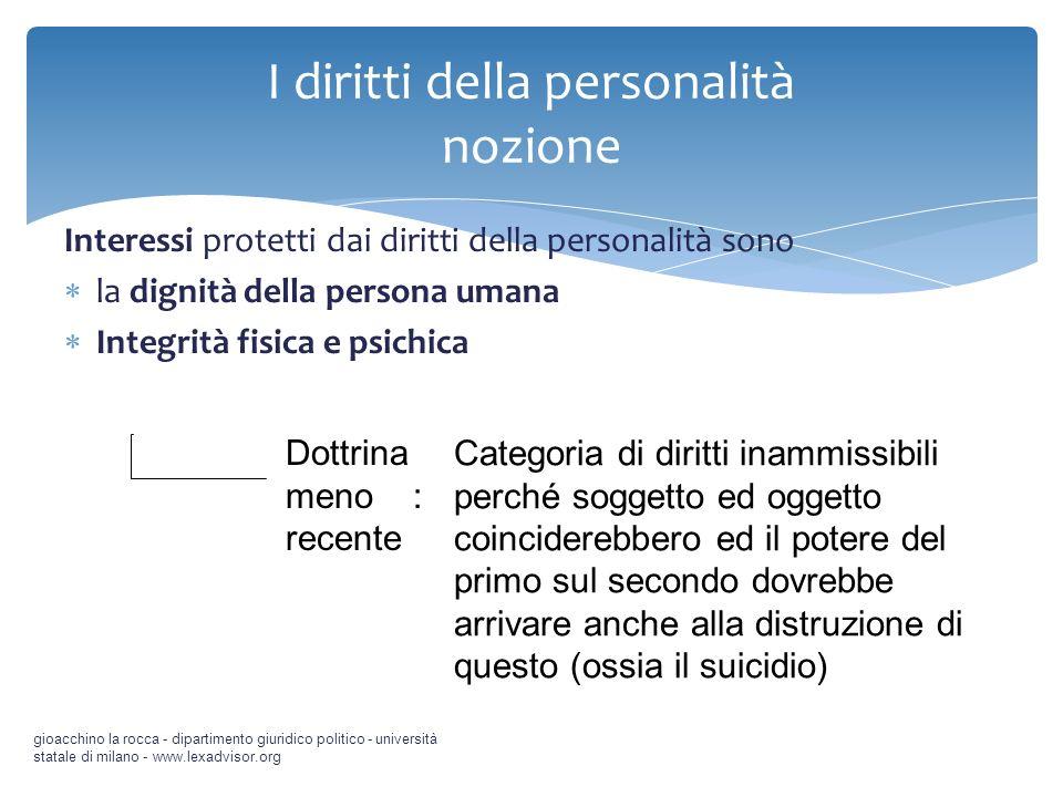 I diritti della personalità nozione