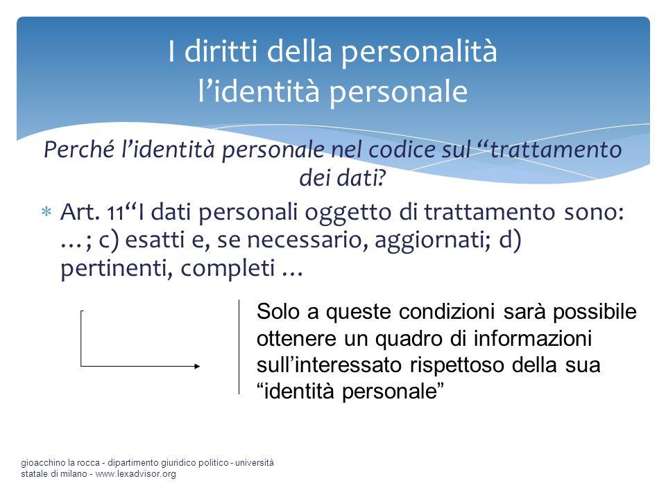 I diritti della personalità l'identità personale