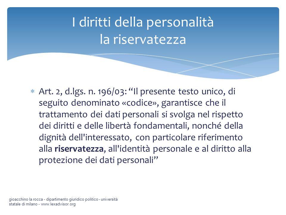 I diritti della personalità la riservatezza