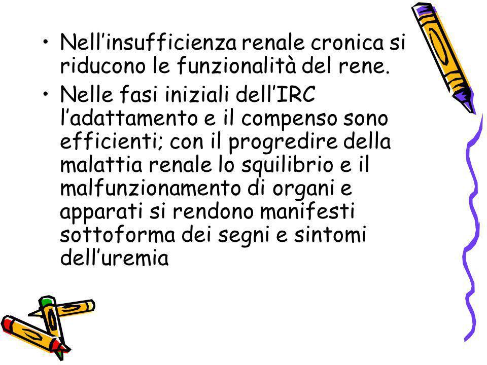 Nell'insufficienza renale cronica si riducono le funzionalità del rene.