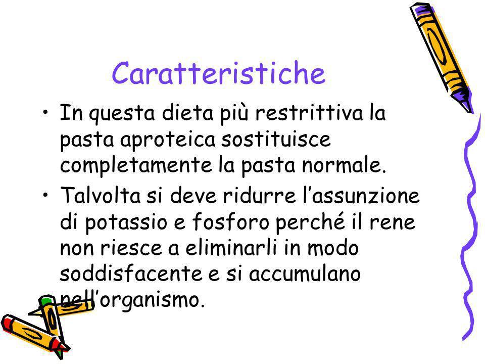 Caratteristiche In questa dieta più restrittiva la pasta aproteica sostituisce completamente la pasta normale.