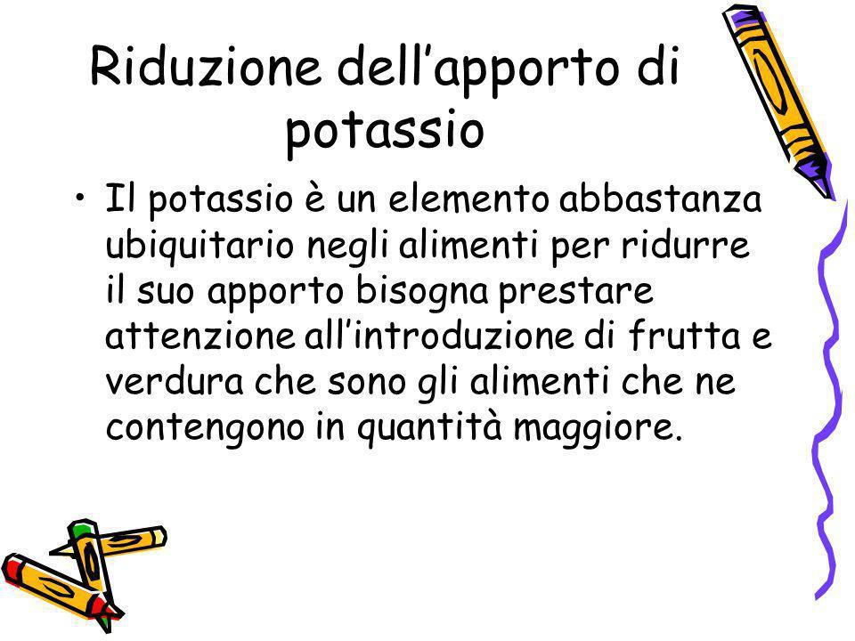 Riduzione dell'apporto di potassio