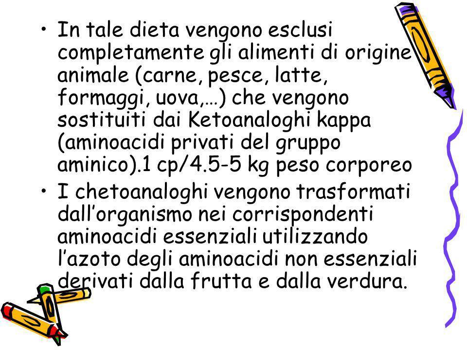 In tale dieta vengono esclusi completamente gli alimenti di origine animale (carne, pesce, latte, formaggi, uova,…) che vengono sostituiti dai Ketoanaloghi kappa (aminoacidi privati del gruppo aminico).1 cp/4.5-5 kg peso corporeo