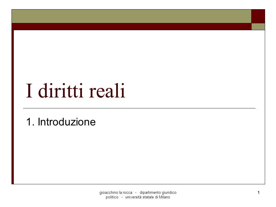 I diritti reali 1. Introduzione