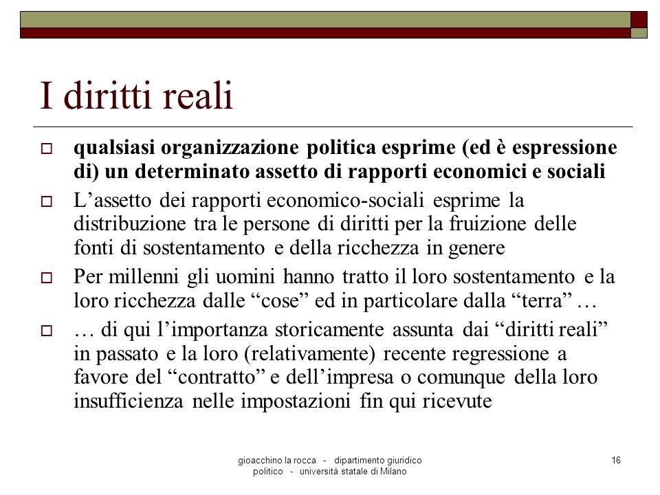 I diritti reali qualsiasi organizzazione politica esprime (ed è espressione di) un determinato assetto di rapporti economici e sociali.