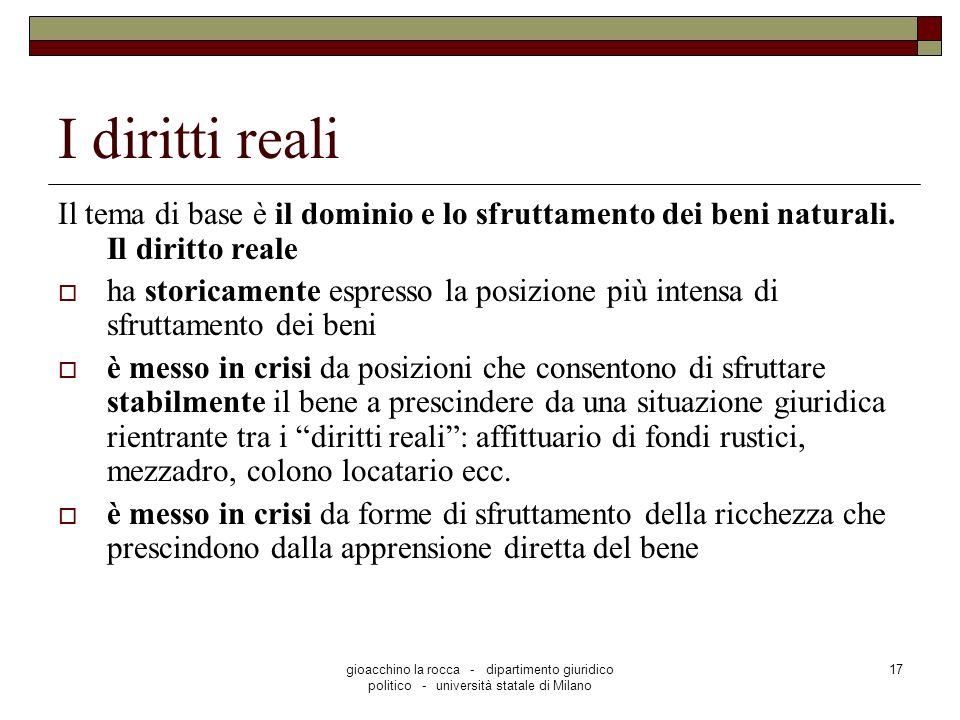 I diritti reali Il tema di base è il dominio e lo sfruttamento dei beni naturali. Il diritto reale.
