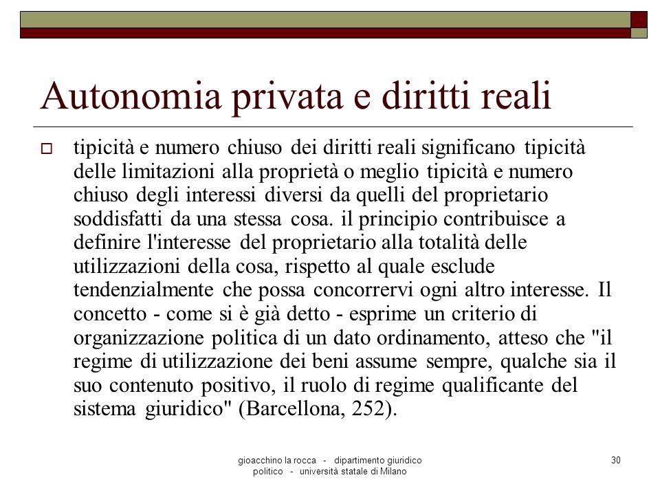 Autonomia privata e diritti reali