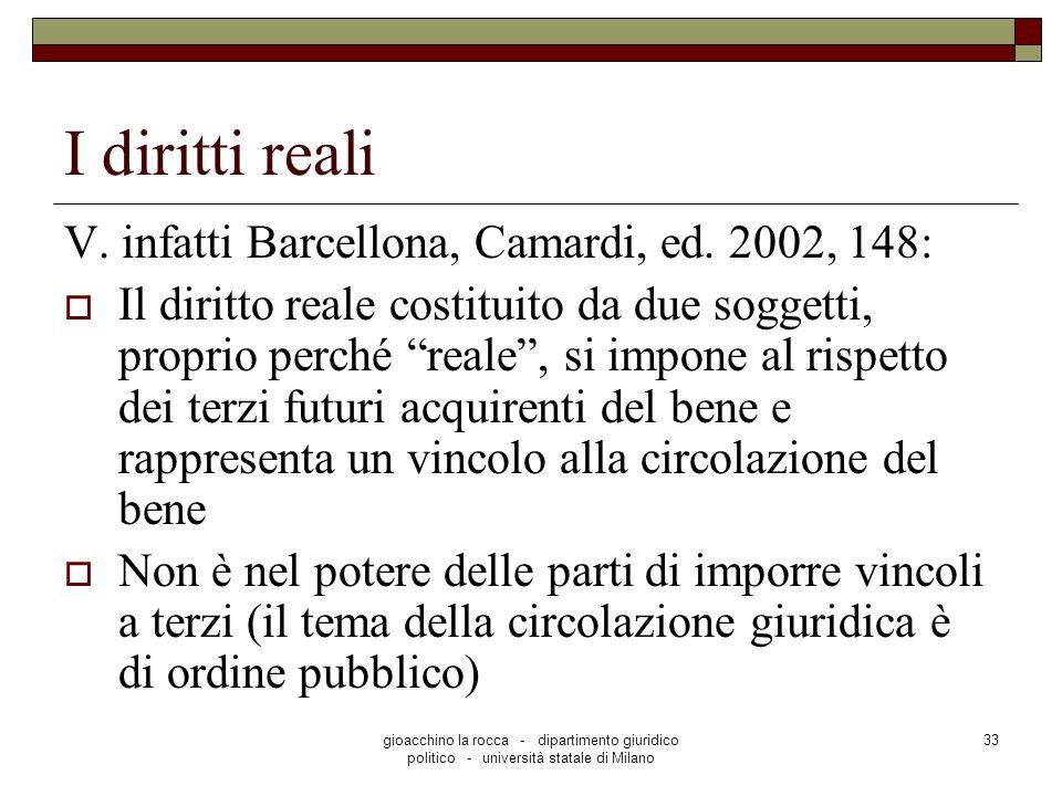 I diritti reali V. infatti Barcellona, Camardi, ed. 2002, 148: