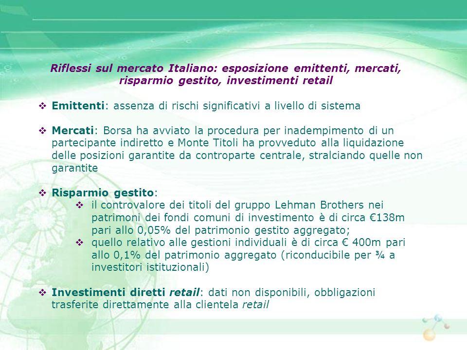 Riflessi sul mercato Italiano: esposizione emittenti, mercati,