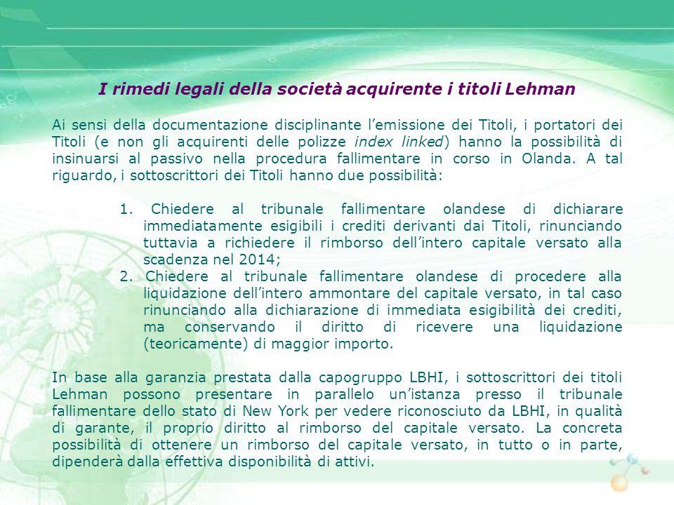 I rimedi legali della società acquirente i titoli Lehman