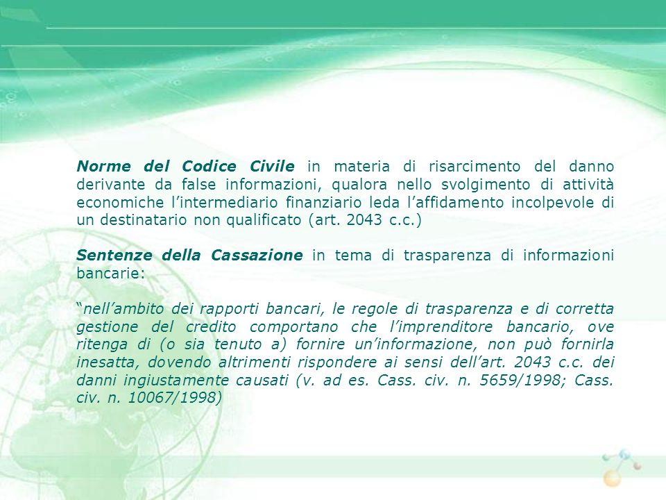 Norme del Codice Civile in materia di risarcimento del danno derivante da false informazioni, qualora nello svolgimento di attività economiche l'intermediario finanziario leda l'affidamento incolpevole di un destinatario non qualificato (art. 2043 c.c.)