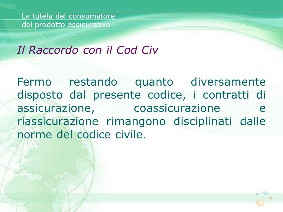 Il Raccordo con il Cod Civ