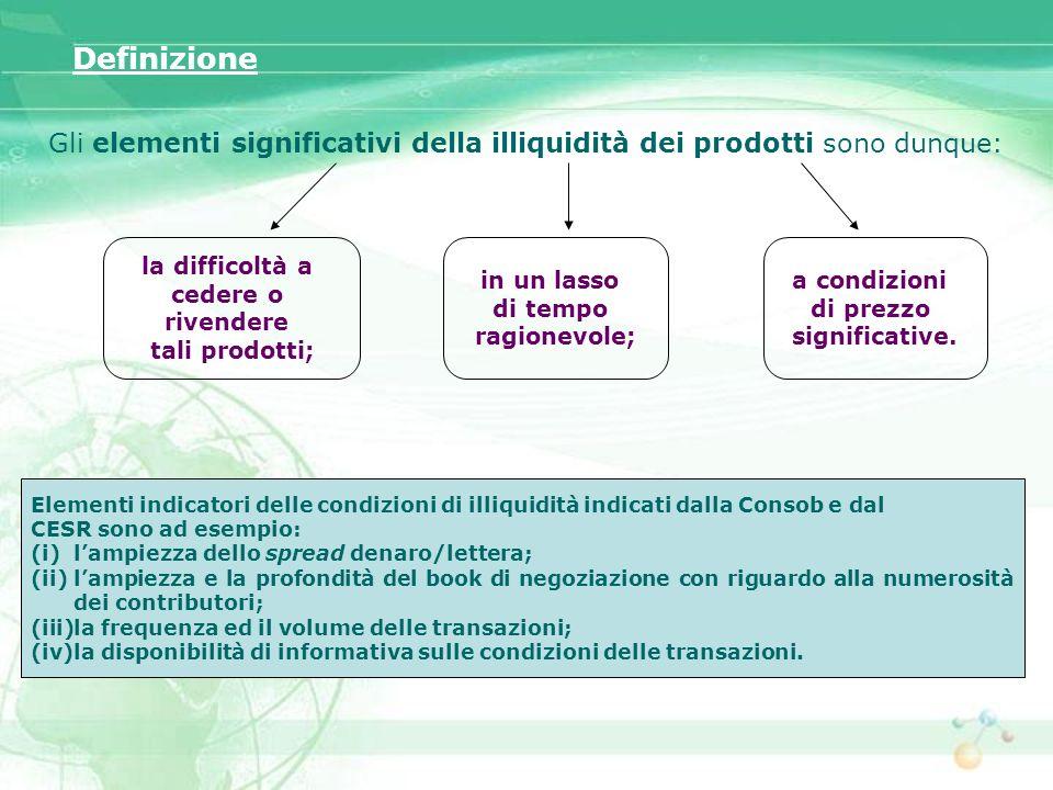Definizione Gli elementi significativi della illiquidità dei prodotti sono dunque: la difficoltà a.